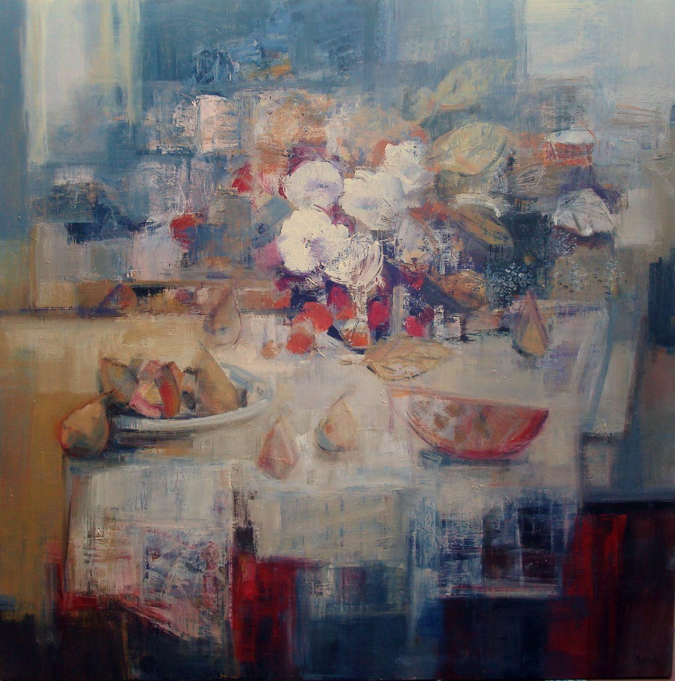 61 - Flores en la mesa. Oleo sobre lienzo. 114x114cm.4200€