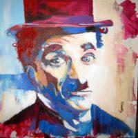 Charlie Chaplin 100x100 Acrilico 1200€