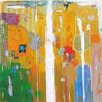 Con torre azul, oleo s. lienzo, 160x160, 5000€B