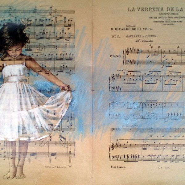 Bailarina,50x33cm.Tinta china y pastel sobre papel antiguo de partitura.450€