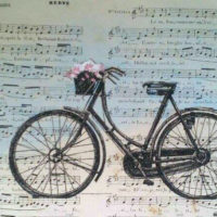 Bicicleta antigua,tinta china y pastel sobre partitura antigua 29x19cm,330 €