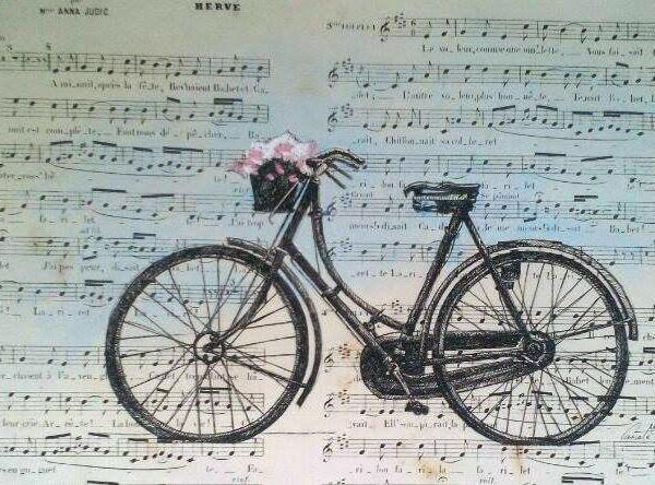 Bicicleta antigua,tinta china y pastel sobre partitura antigua 29x19cm,330 €