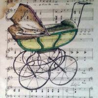 Cochecito de bebe,tinta china y pastel sobre papel antiguo de partitura 31x23cm 280 €