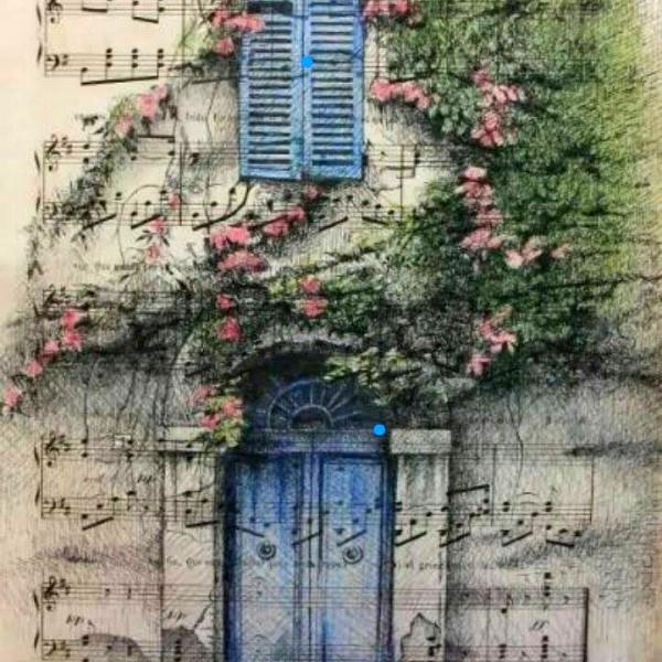 Fachada mediterranea con contraventanas azules Tinta china y pastel sobre papel antiguo de partitura 31x21cm 430 €
