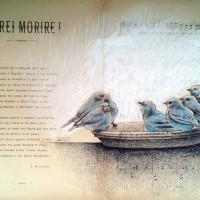 Pajaros azules,50x33cm, tinta china y pastel sobre papel antiguo de partitura.560 €