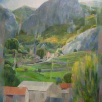 Calle arriba oleo sobre tabla 130x100 cm Serie En el horizonte 3500€
