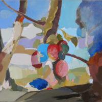 Cuatro frutos. 50 x 50 cm. acrilico y mixta sobre tabla