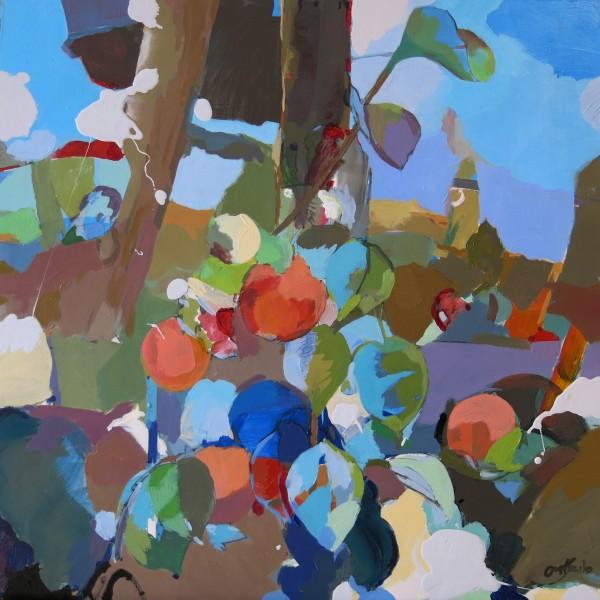 Viento y Frutos. 50 x 50 cm. acrilico y mixta sobre tabla