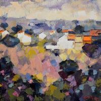 """Cantuesos y casas. """"leo-lino. 50 x 50 cm. 2017."""