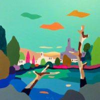 vista del lago acrilico sobre lienzo, 100x100cm 2000