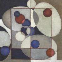 Composizione con ovali e sfere in blu