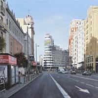 Gran Via hacia Callao, oleo lienzo, 50 x 89 cm. 3200