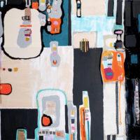 Ritmos de la noche 150x200 cm. Collage, resina pigmentada y acrilico sobre TABLA, 8.000