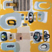 Viaje 1 60x60 cm. Collage, resina pigmentada y acrilico sobre tabla. 900