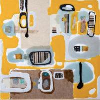 Viaje 2 60x60 cm. Collage, resina pigmentada y acrilico sobre tabla. 900