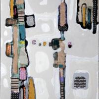 Wandering 2 150x75 cm. Collage, resina pigmentada y acrilico sobre tabla. 2.500