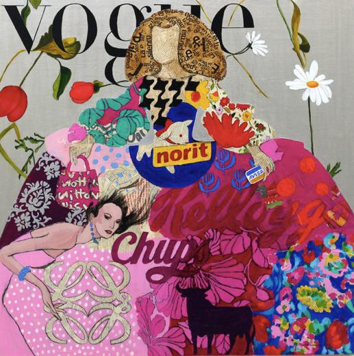 MENINA 171 100x100 cm Collage y acrilico sobre lienzo 4235