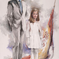 S.M. el Rey con la Princesa de Asturias 195X114cm_R