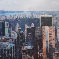 Amanecer en Central Park. Tecnica mixta sobre tela. 100x100 cm. 1800