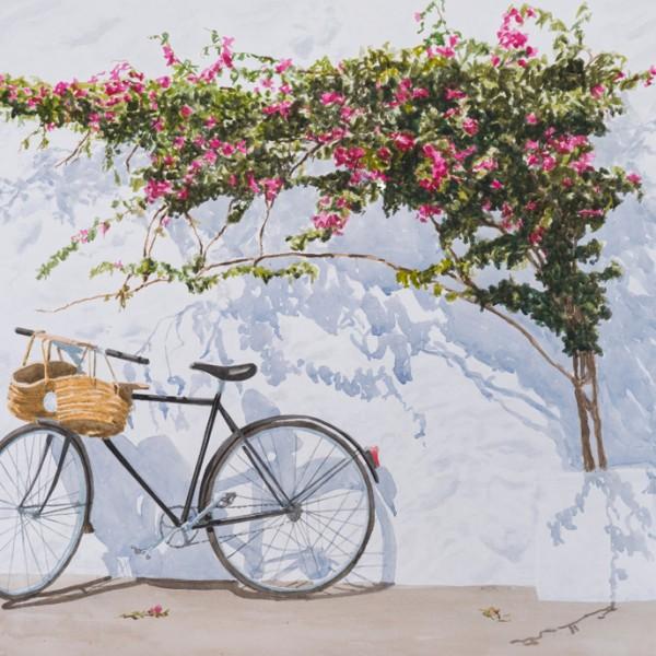 Bicicleta 100x 70 cm acuarela sobre papael 2200