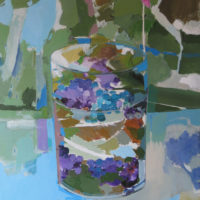 Azules y Morados. 65 x 54 cm, acrilico , lienzo 1500