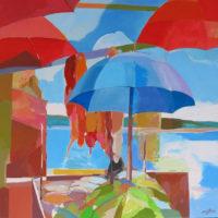 Mazorcas y sombrillas en el puesto de playa. 100 x 100 cm, acrilico sobre lienzo 3325