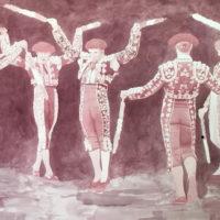 La danza 76x140 sedimiento de vino tratado sobre papel 3000