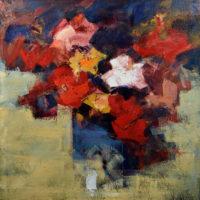 Aire de rosas. 100 x 100 cm. Oleo Lino. 2018.