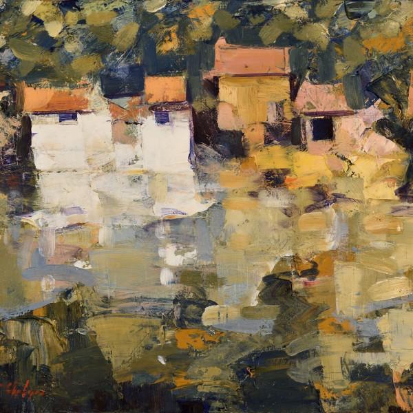 Cabanas de pescadores. 38 x 46 cm. Oleo Lino. 2018.