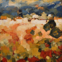 Ocres, rojos y azules. 89 x 116 cm. Oleo Lino. 2018.