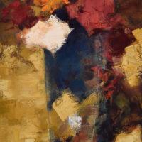 Rosas en un vaso. 146 x 89 cm. oleo Lino. 2018