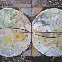 Mapa Mundi mixta sobre lienzo 146x97