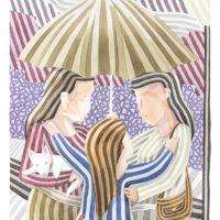 Chicas bajo un paraguas 70x50 acuarela 1330