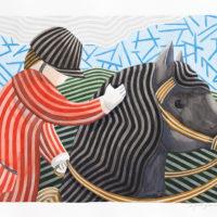 Un jinete y su caballo 70x100 acuarela 2180