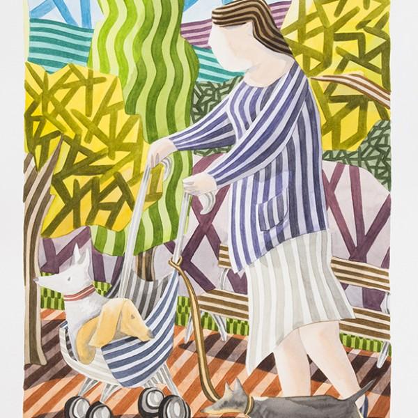 mujer-con-perros 70'x50 acuarela 1390
