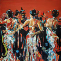 Dancing in Madrid 100x100 acrilico sobre chapa 3D 3000