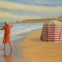 Atardecer en Biarritz 43x83 oleo sobre lienzo 4700