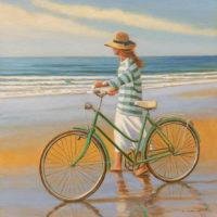 La bicicleta y el mar oleo sobre lienzo 40x40 2300