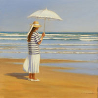 La sombrilla blanca oleo sobre lienzo 40x40 2300