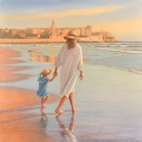 Playa de Gijon oleo sobre lienzo 100x100 7500