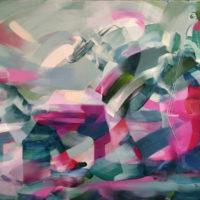 Musicos azul y verde. Oleo sobre lienzo 65X50 1600