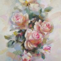 Rosas blancas II Oleo sobre lienzo 55x38 1400