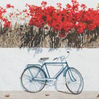 Bicicleta azul 70x50 acuarela sobre papel 1650