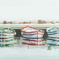 Tres barcas acuarela 50x70 1650