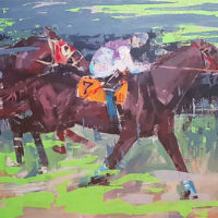 Carrera de caballos. Tecnica mixta. 116 x 90 cm. Precio 1800 €.